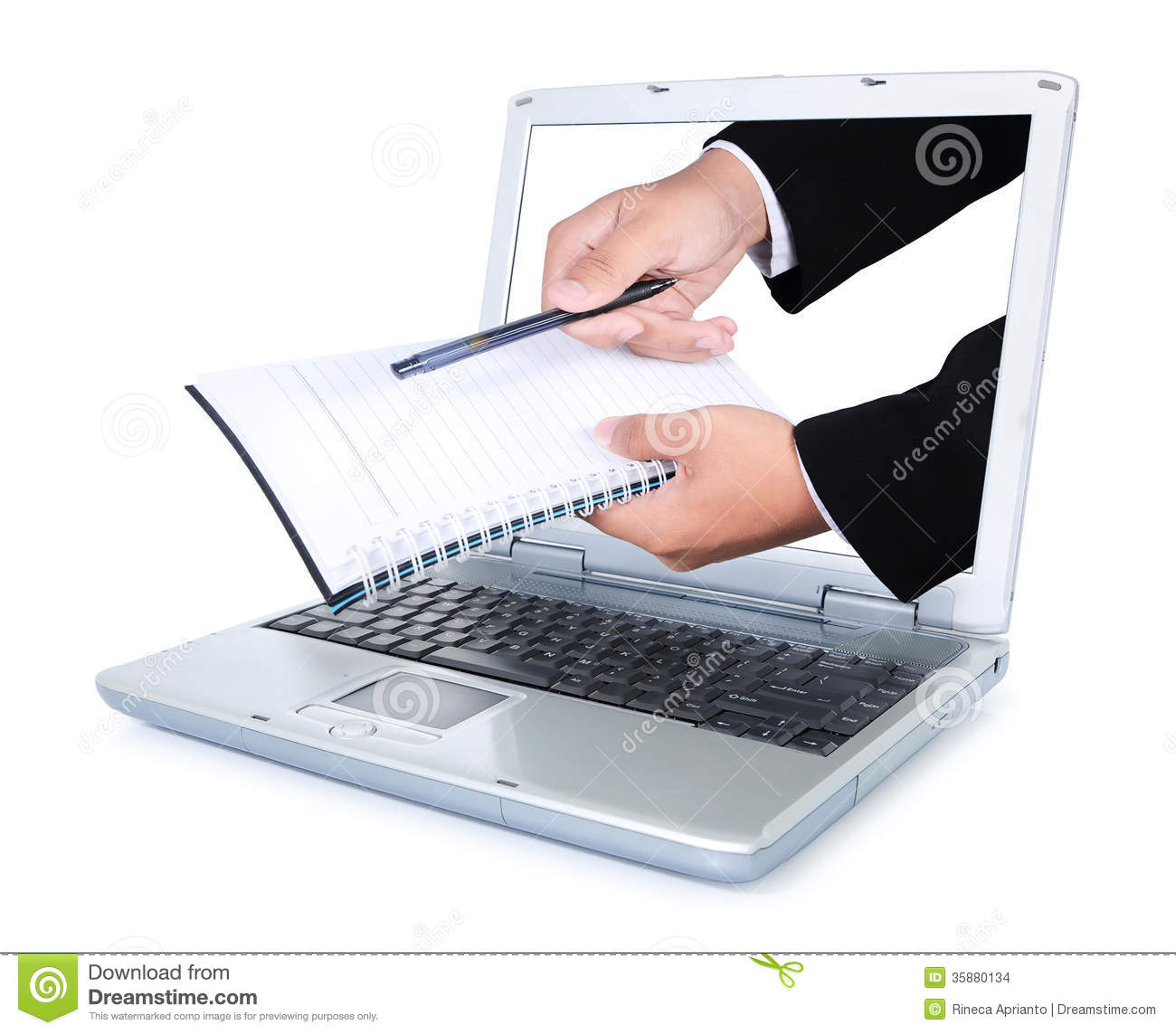 Hand Carry Books And Pens Out Of The Laptop Screen Stock