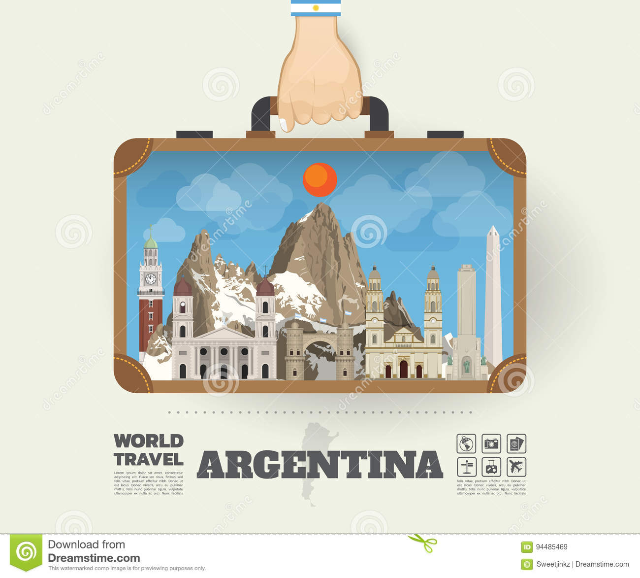 Hand carrying Argentina Landmark Global Travel And Journey Infographic Bag. Vector Design Template.vector/illustration