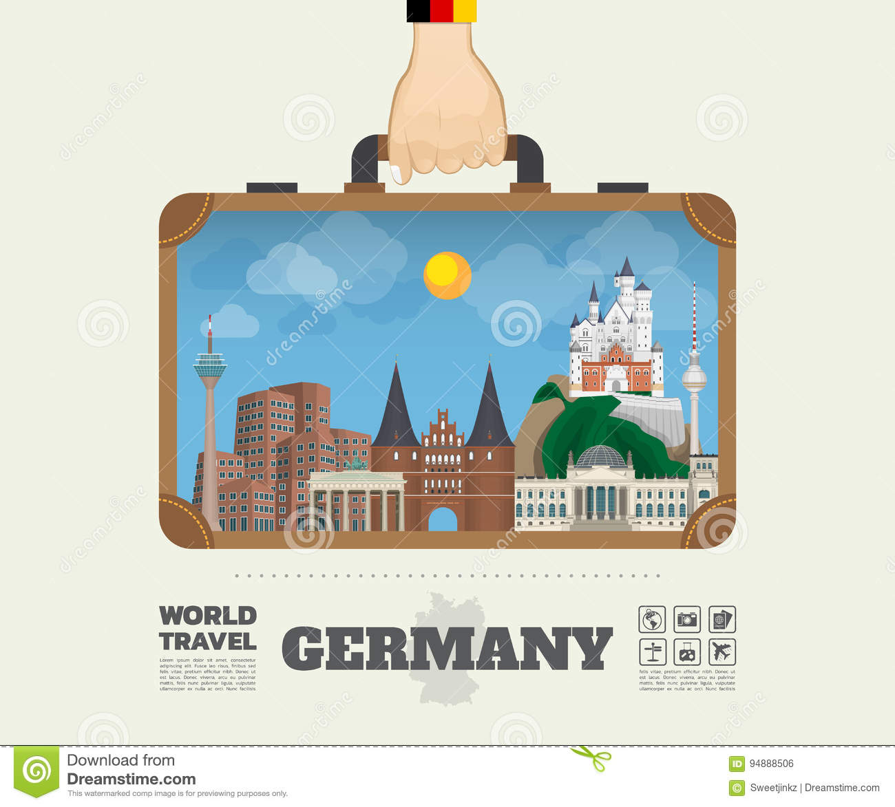 Hand carrying Germany Landmark Global Travel And Journey Infographic Bag. Vector Design Template.vector/illustration