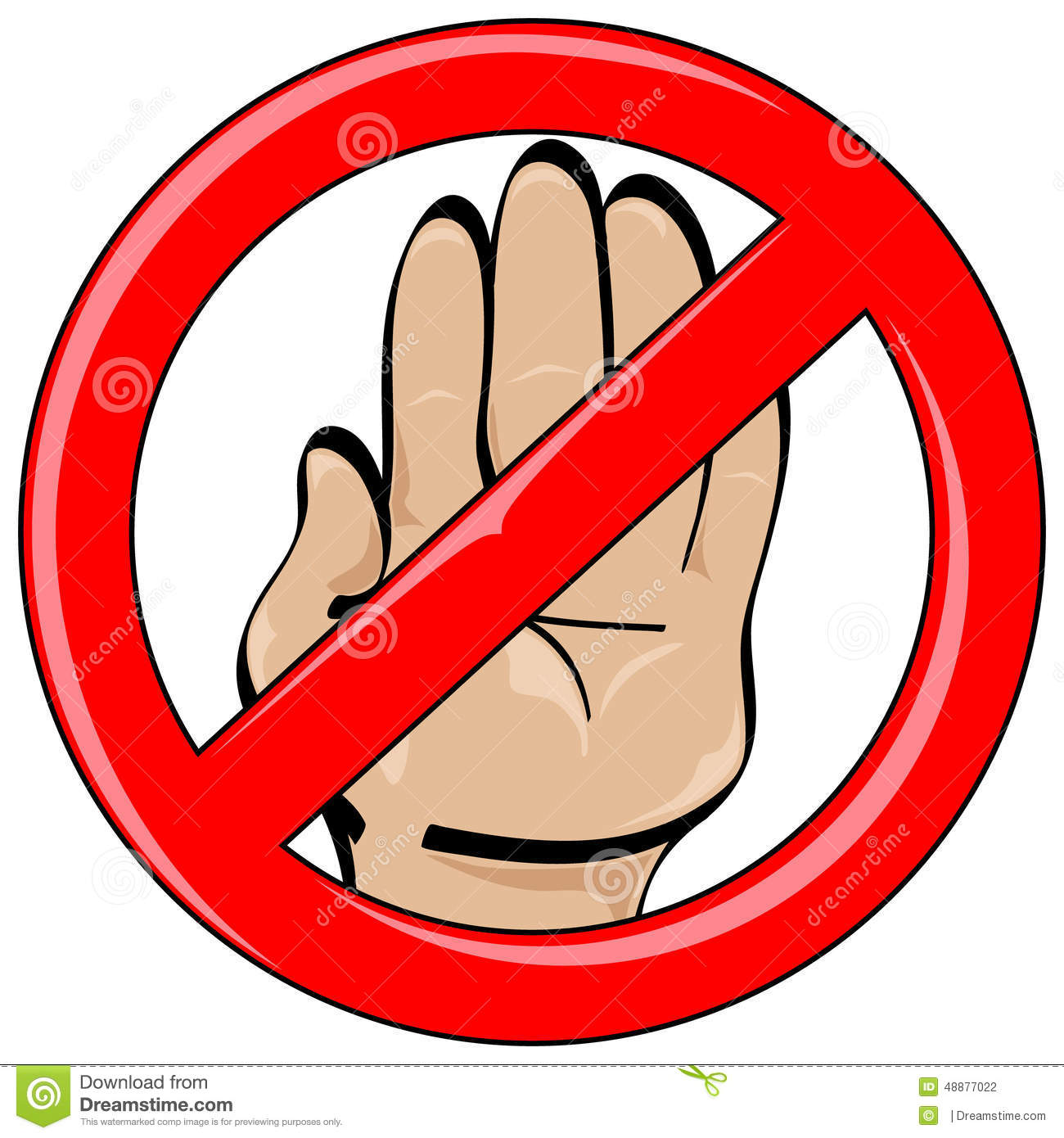 Hand Cartoon Style Stop Banned