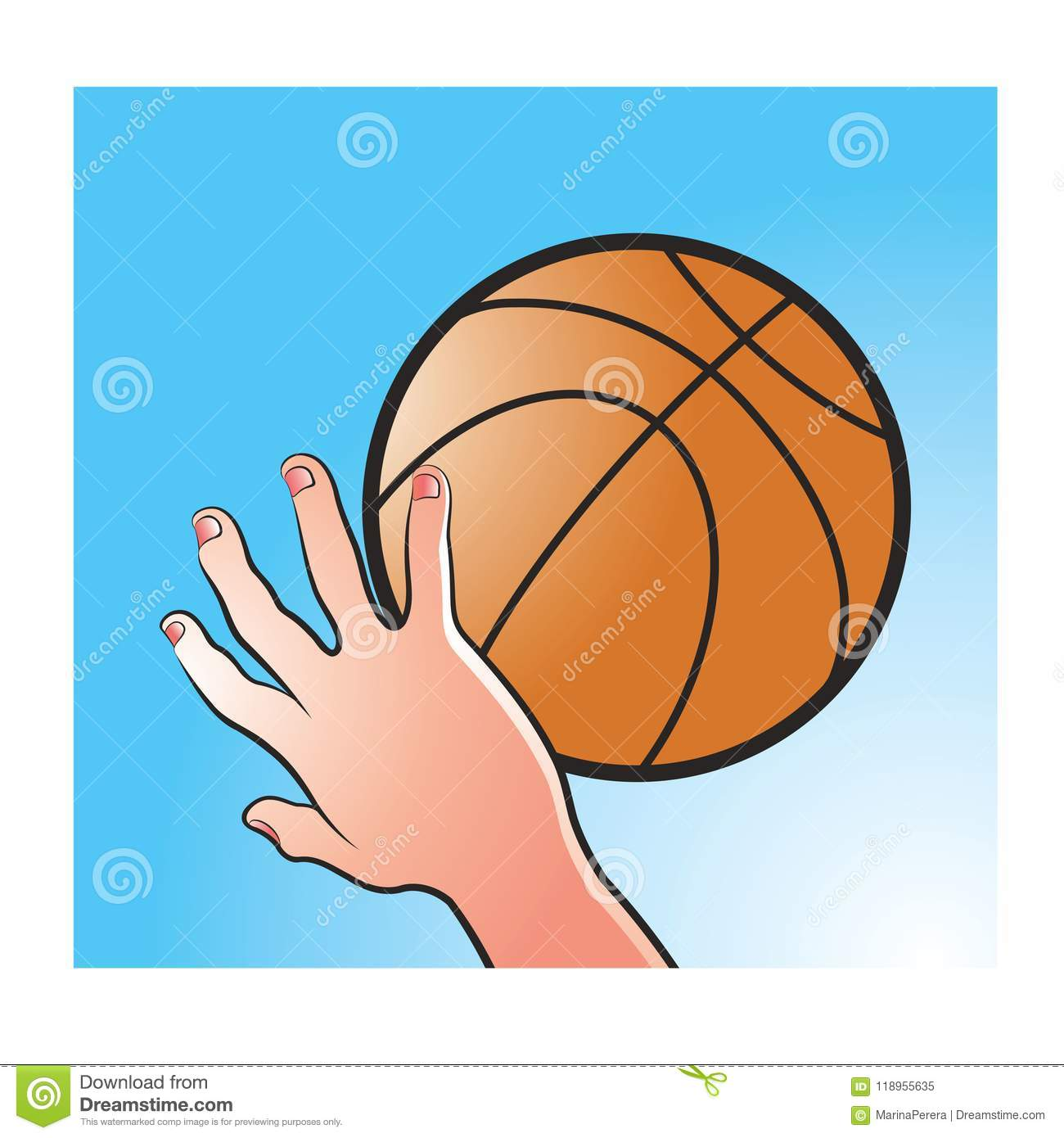 Hand Catching Basket Ball In Color Stock Vector