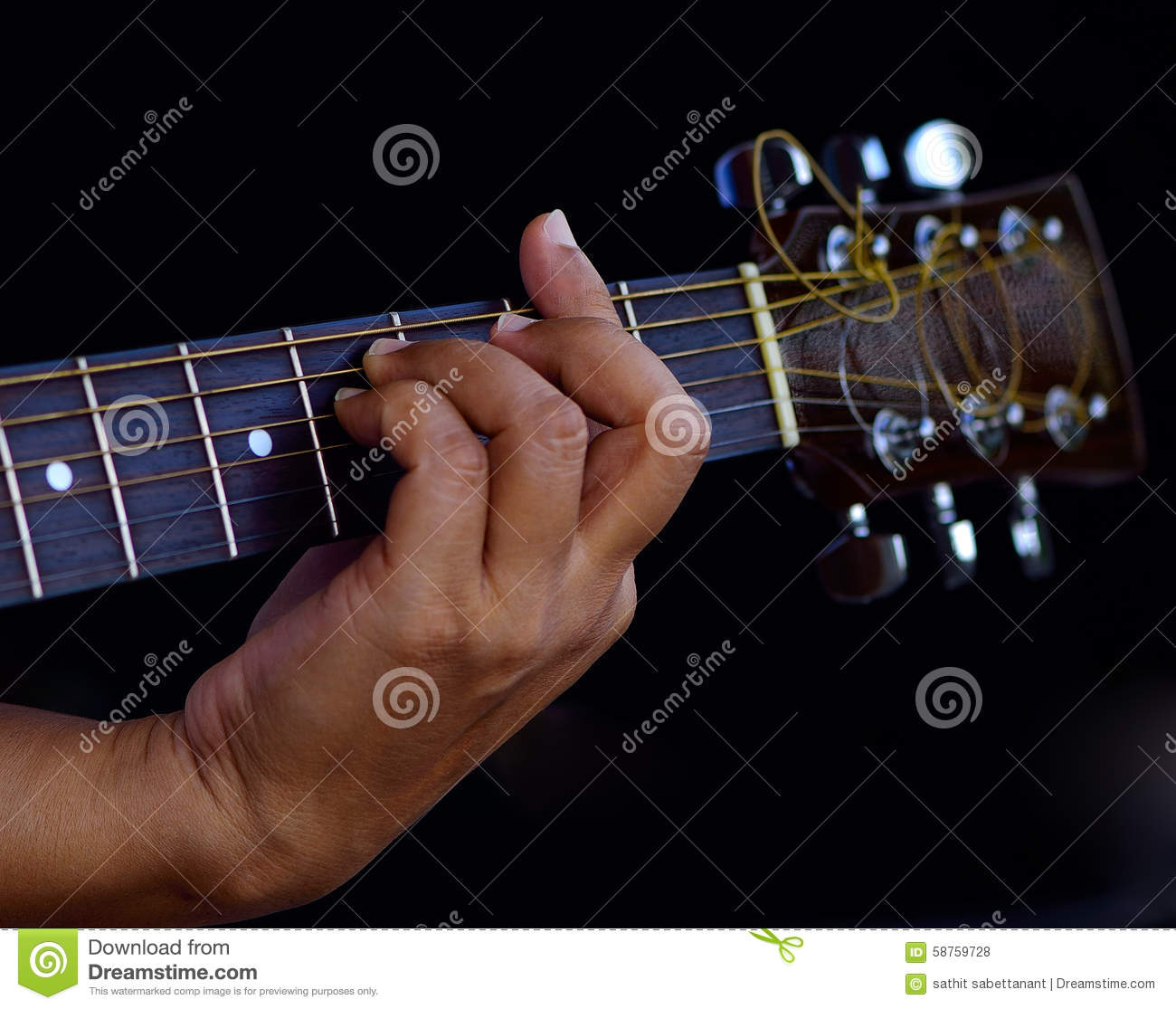 Hand Catching Guitar An Example For The Guitar Chords Stock