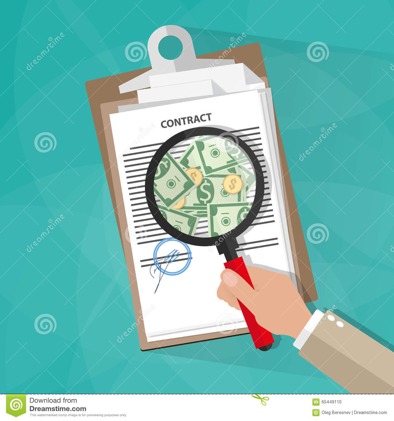 hand checking contract stock vector image of careful 65449110