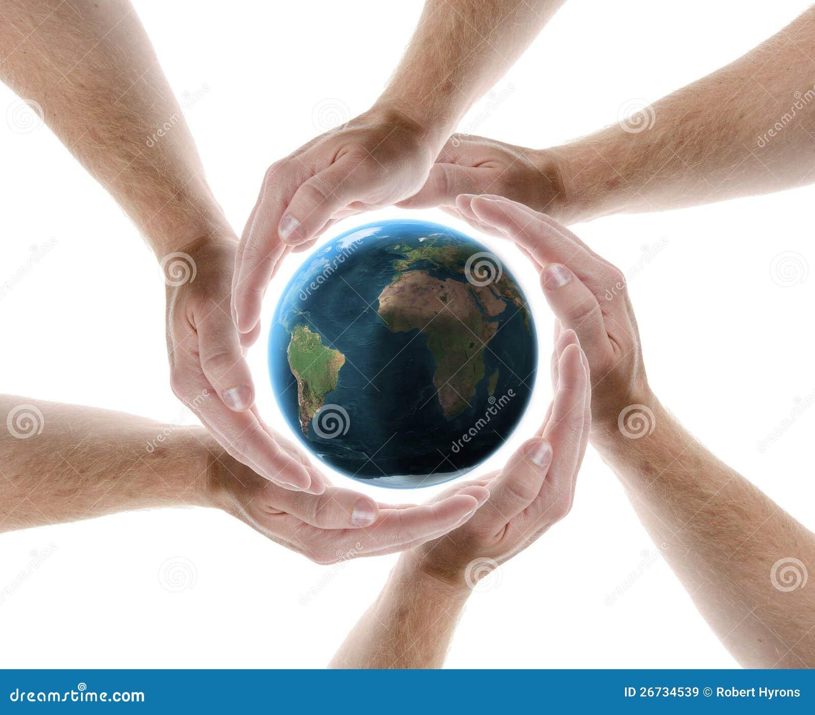 Hand circle protecting planet