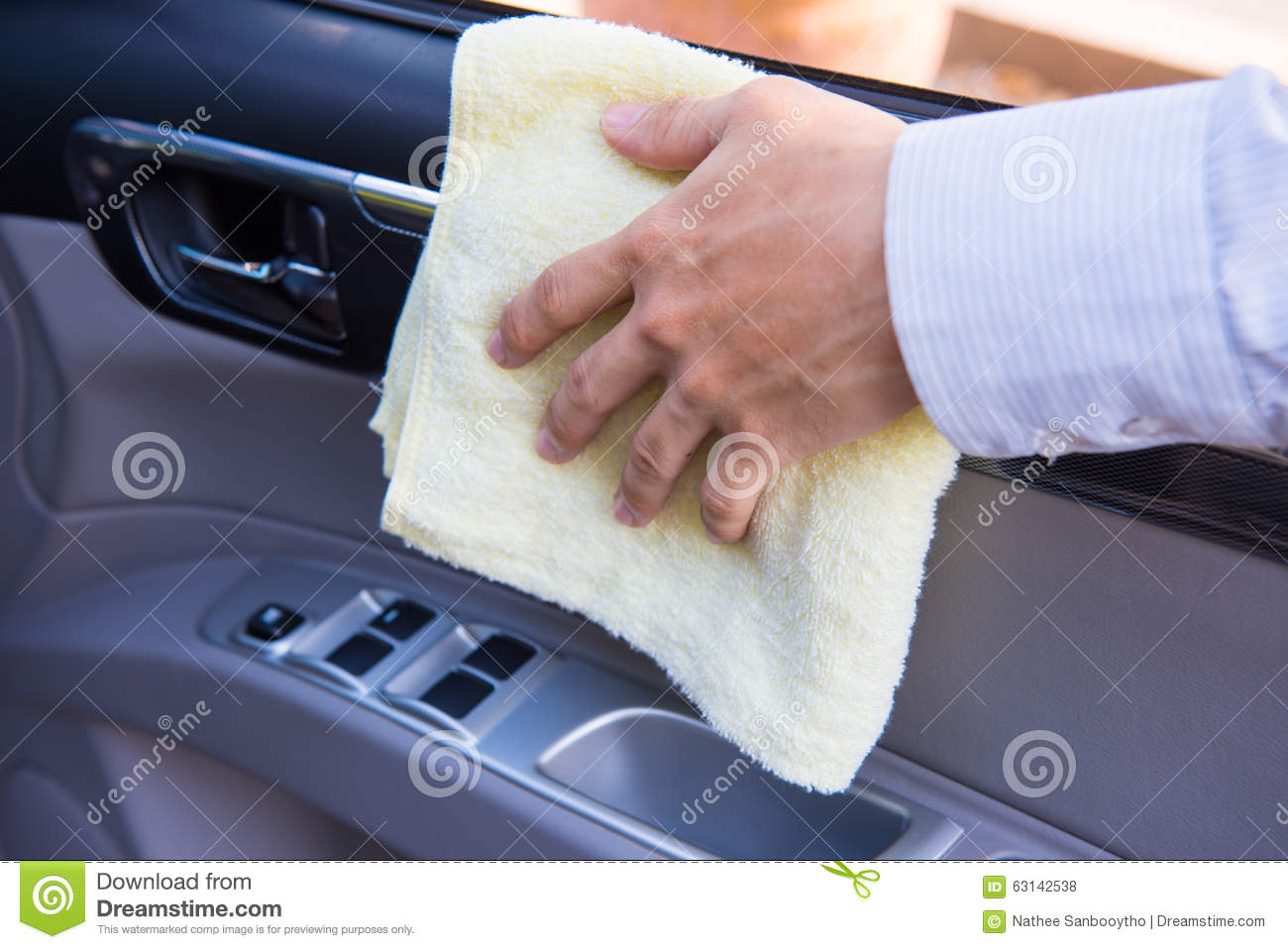 hand cleaning car with microfiber cloth stock photo image 63142538. Black Bedroom Furniture Sets. Home Design Ideas