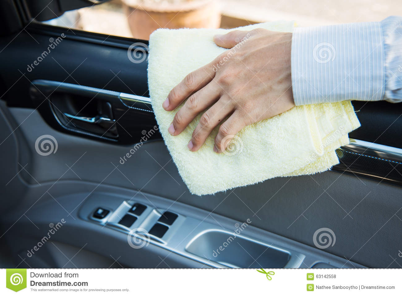 hand cleaning car with microfiber cloth stock photo image 63142558. Black Bedroom Furniture Sets. Home Design Ideas