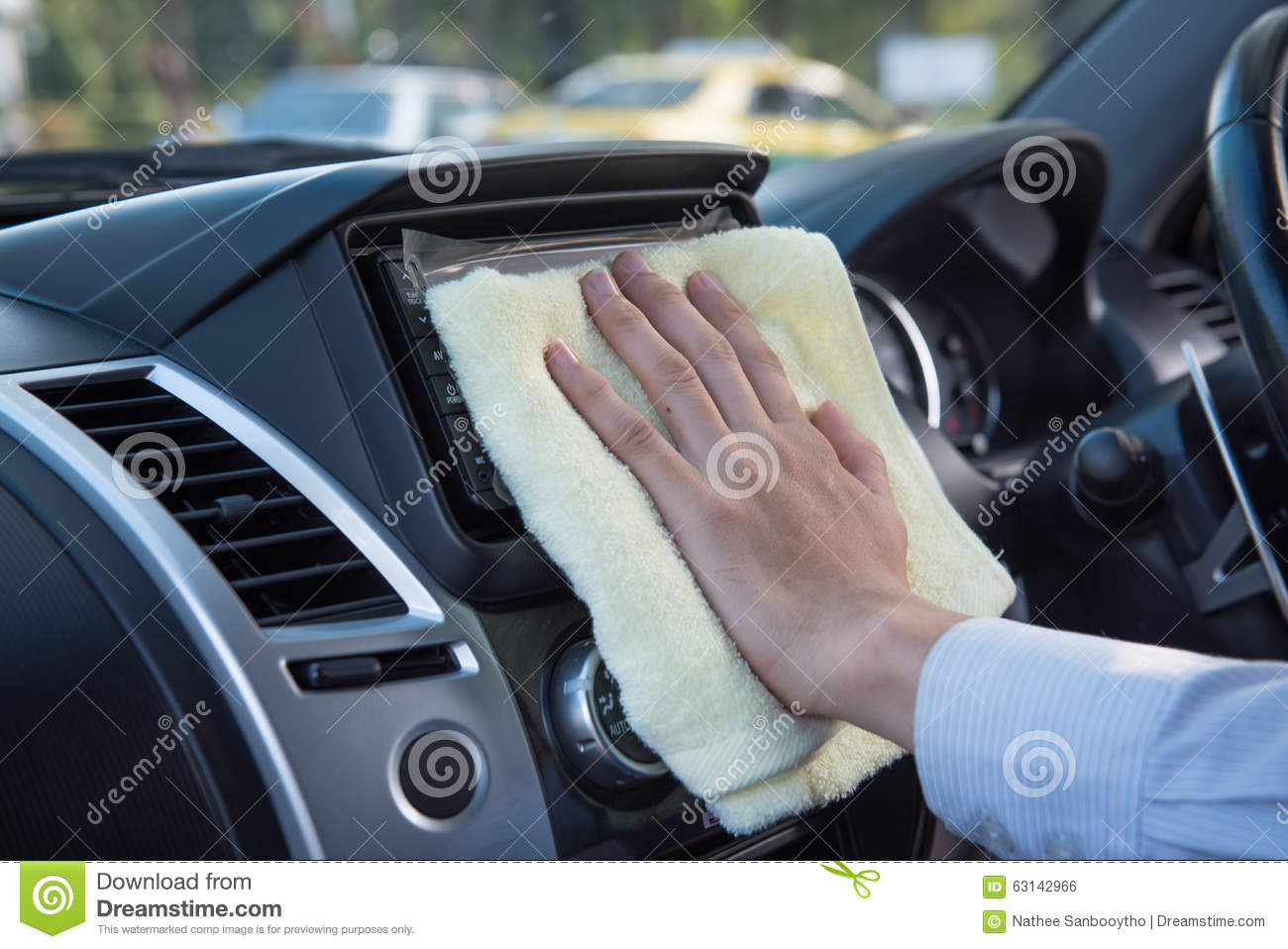 hand cleaning car with microfiber cloth stock photo image 63142966. Black Bedroom Furniture Sets. Home Design Ideas