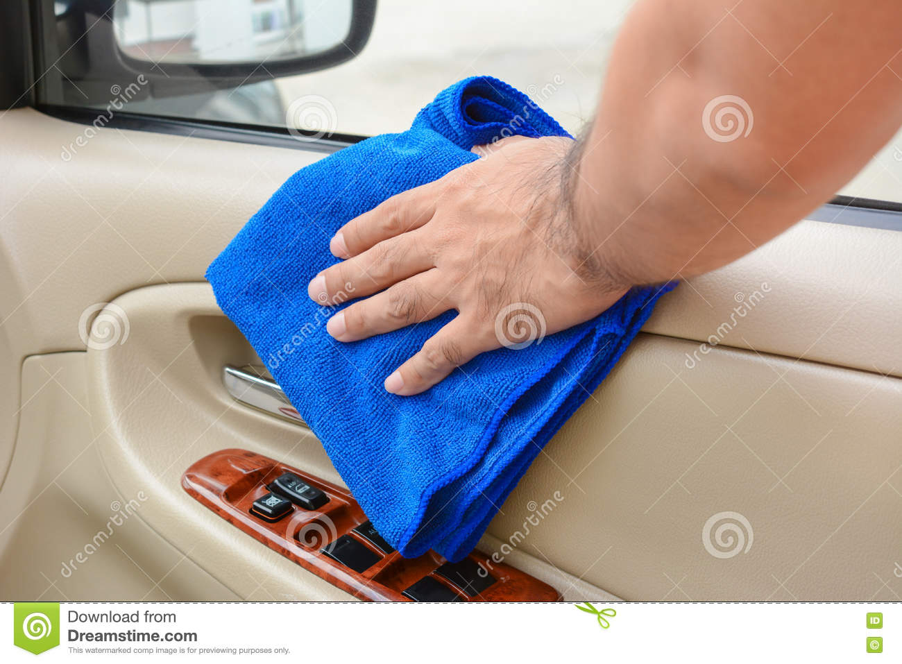 hand cleaning interior car door panel with microfiber cloth stock image image 71994895. Black Bedroom Furniture Sets. Home Design Ideas