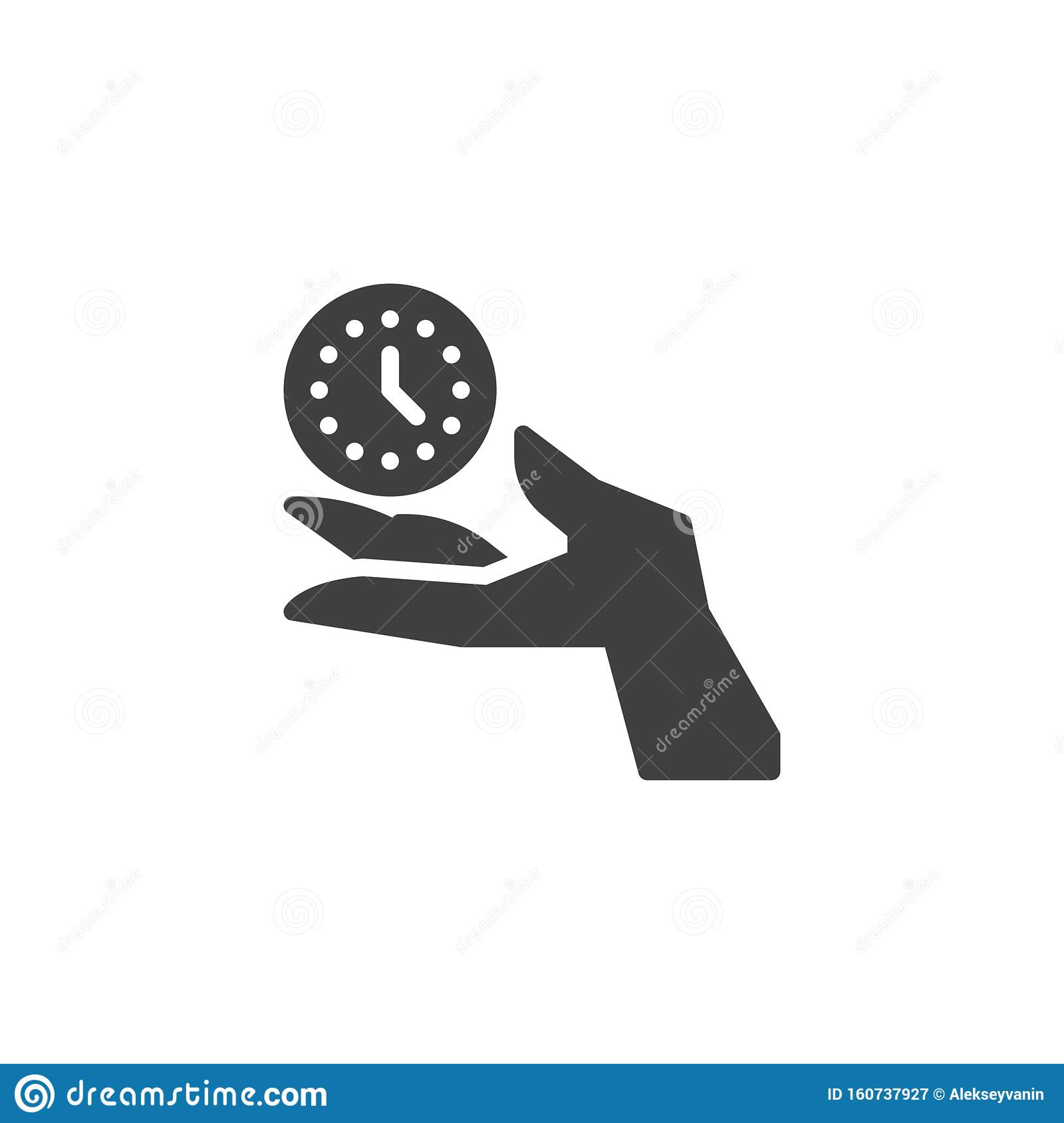 Hand with clock vector icon