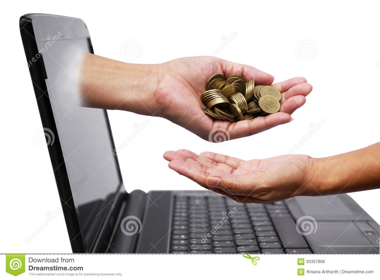 Hand with coins comes out of laptop monitor and pour down coins