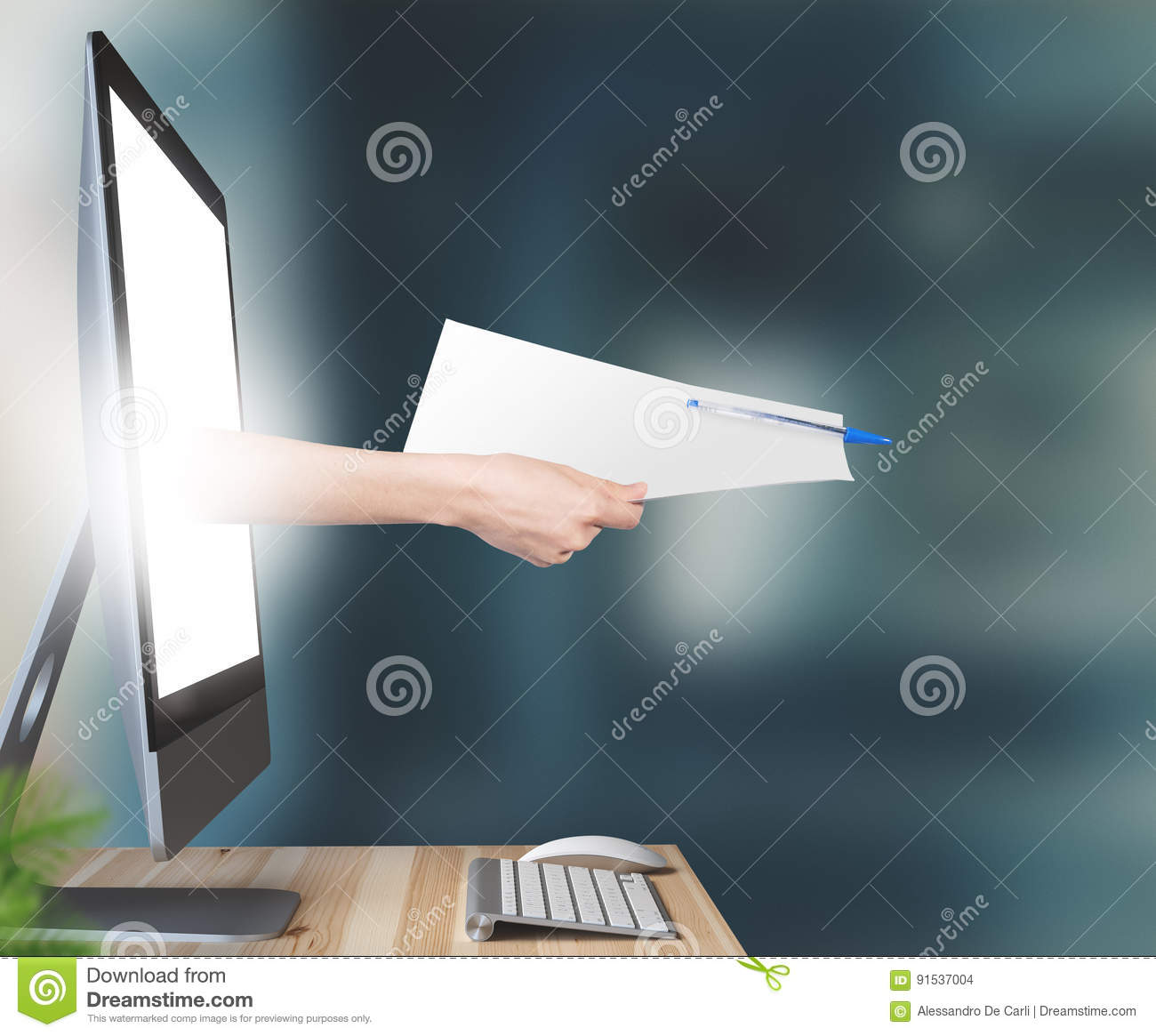 Hand comes out of monitor with contract or paper