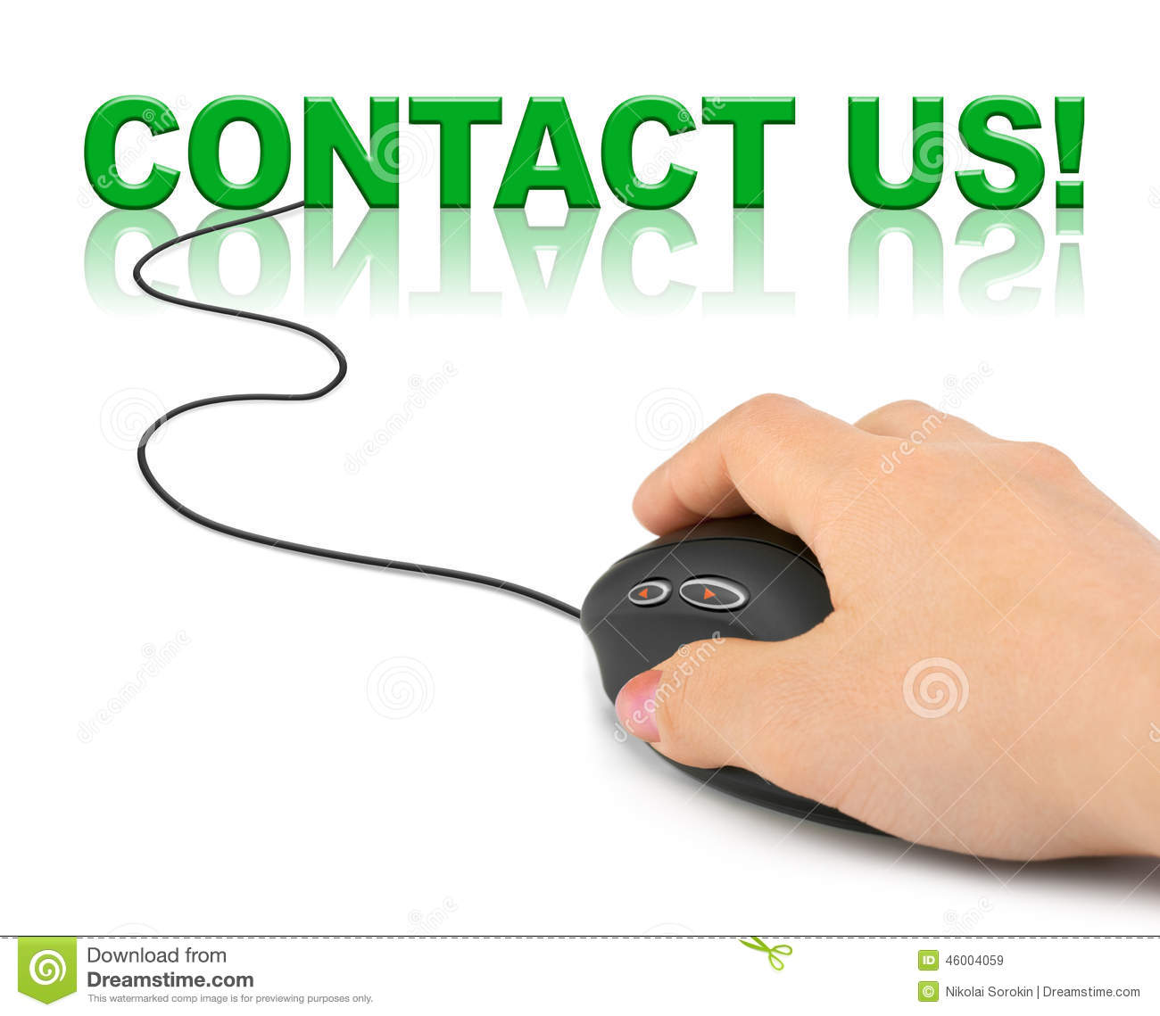 Hand with computer mouse and word contact us