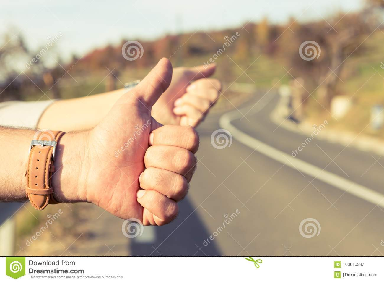 Hitchhikers By Side Of Road >> Hand Of A Couple Of Hitchhikers Or Travelers Stock Image Image Of