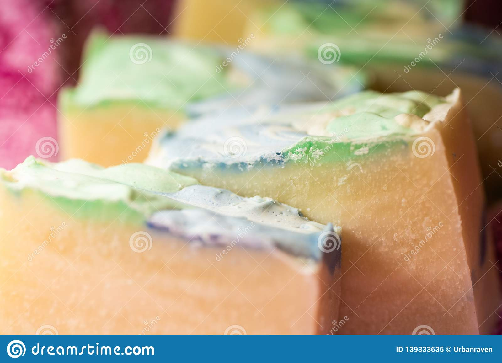 Hand crafted soaps with colorful tops