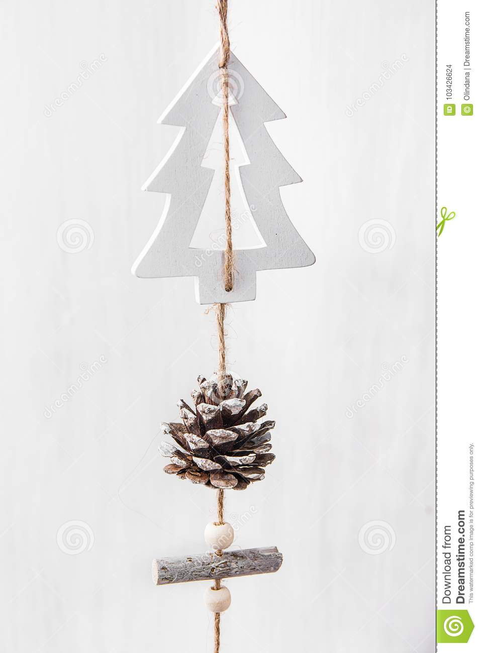 Hand Crafted Wood Christmas Tree Ornament Hanging On Twine With Pine Cone White Wood Barn Board Background Scandinavian Style Stock Photo Image Of Hanging Empty 103426624