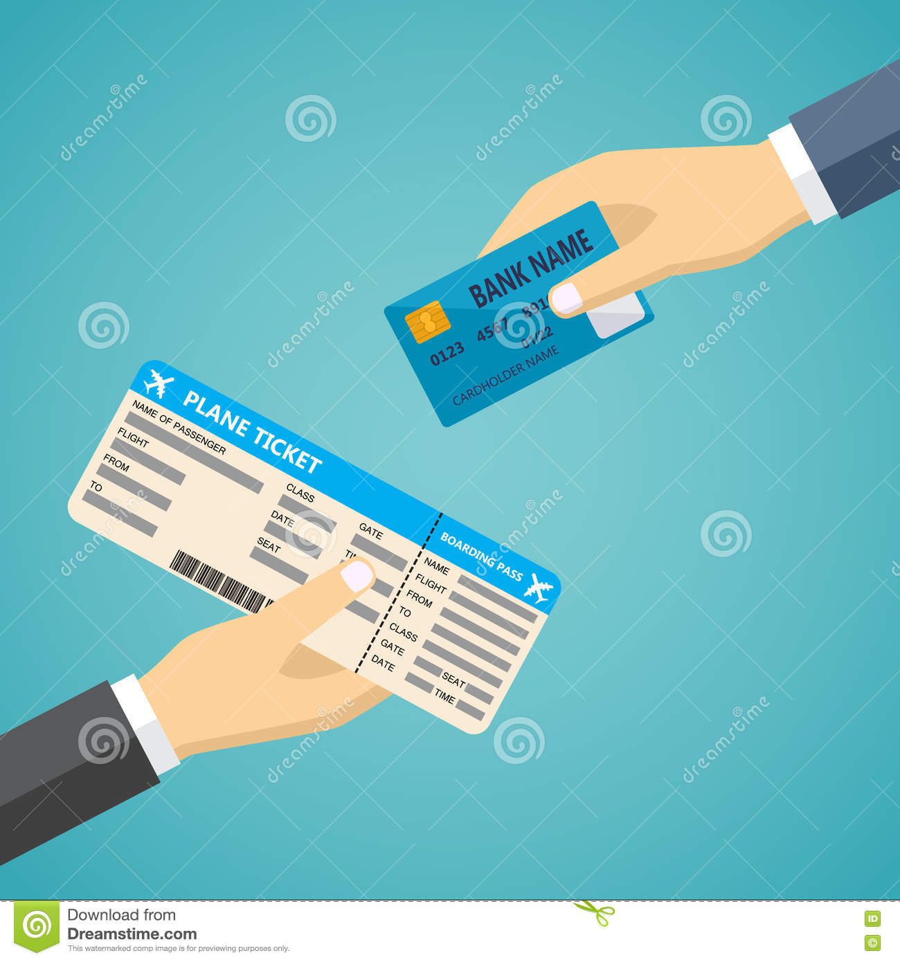hand with credit card and hand with boarding pass stock vector image 72846806. Black Bedroom Furniture Sets. Home Design Ideas