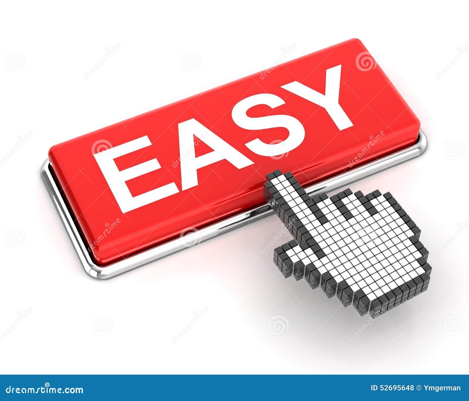 hand cursor clicking an easy button stock illustration