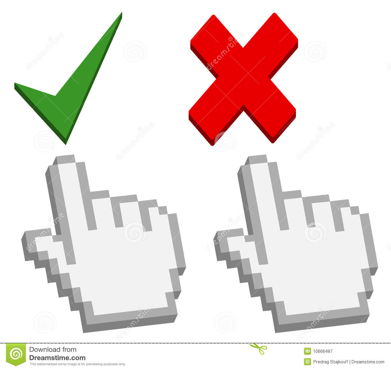 Hand Cursor On Good And Bad Button Royalty Free Stock
