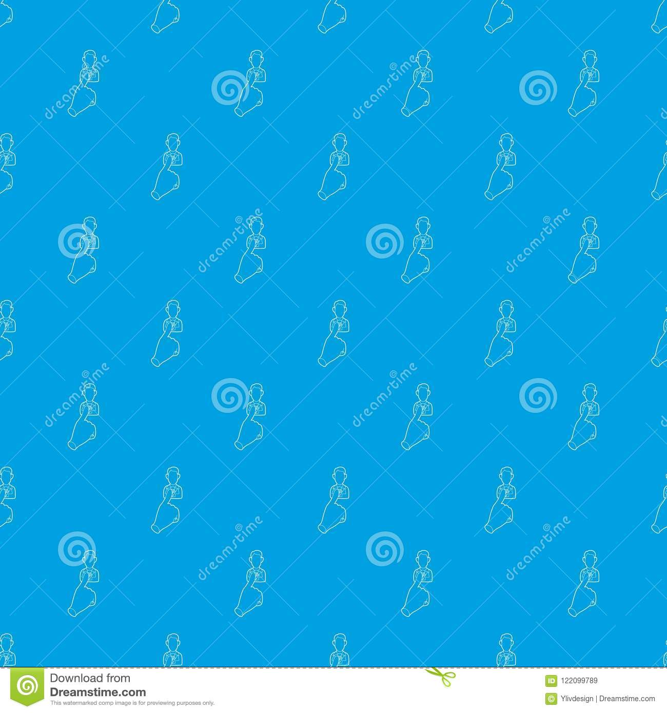 Hand Cursor Pointing To Person Pattern Vector Seamless Blue