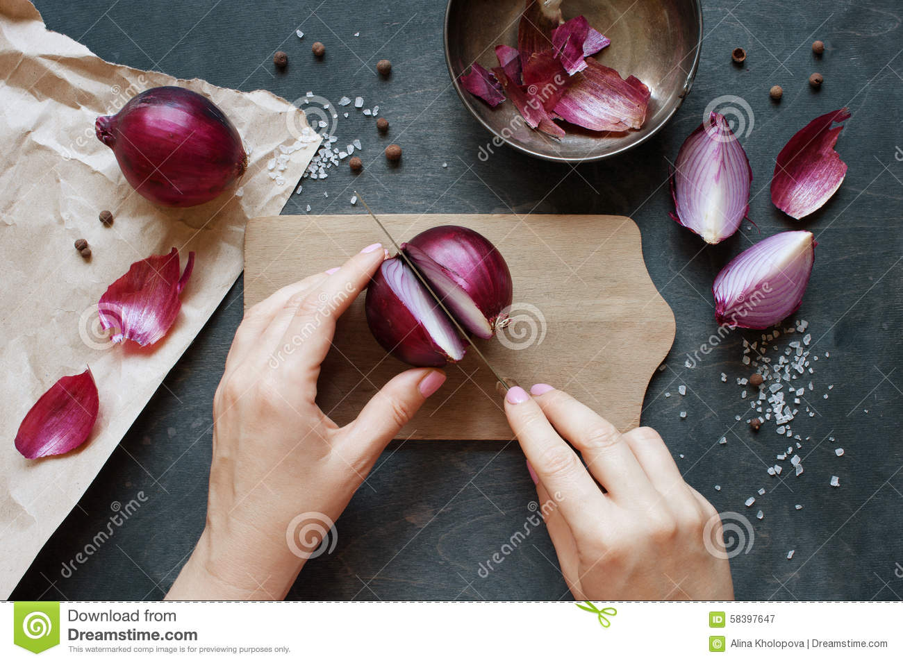 Hand cut red onion