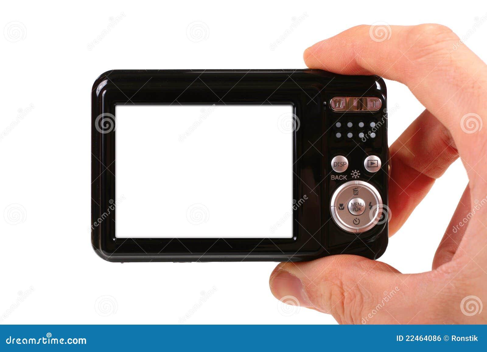 In hand de camera van de foto
