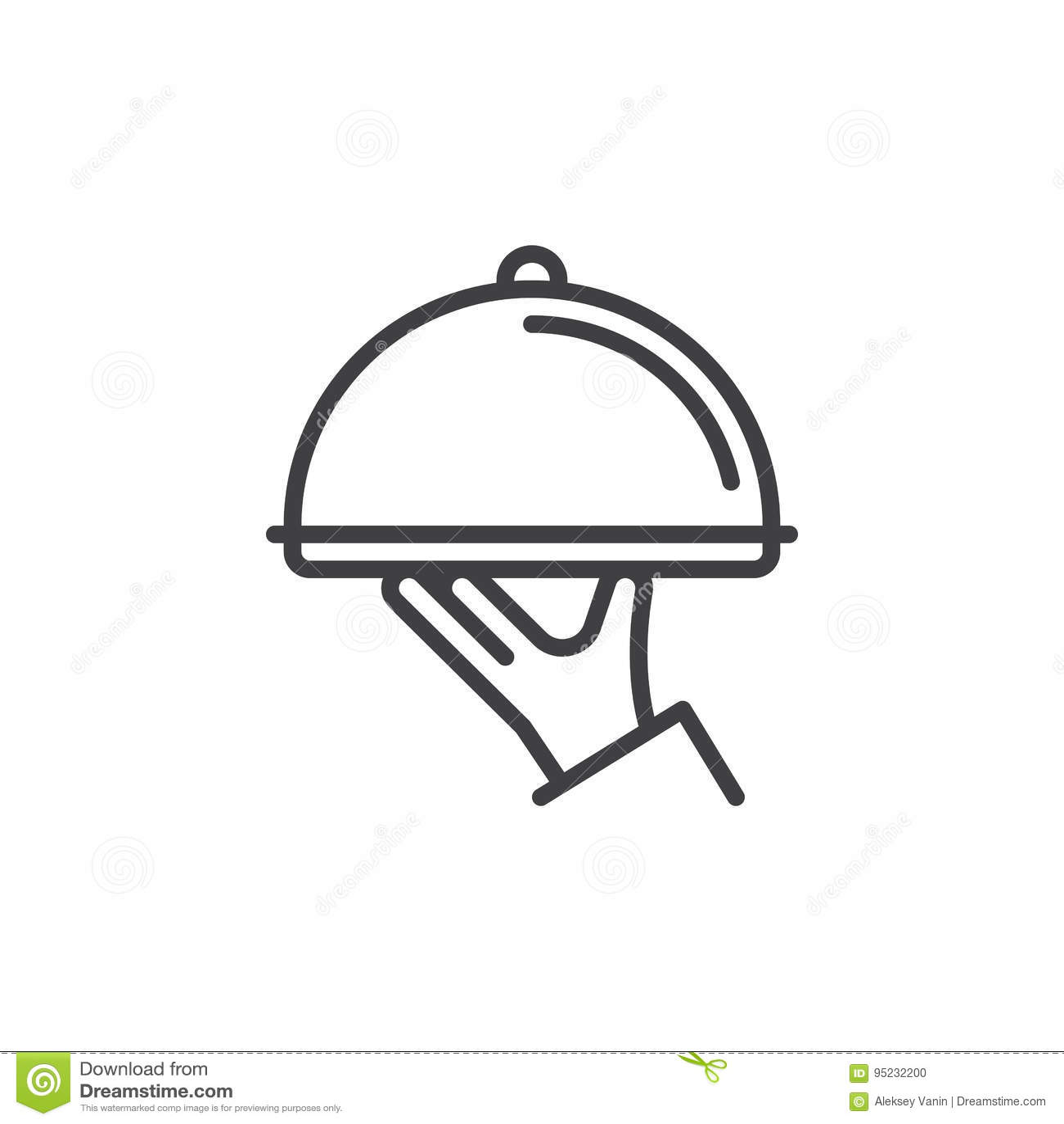 In hand de lijnpictogram van de restaurantglazen kap, overzichts vectorteken, lineair die stijlpictogram op wit wordt geïsoleerd