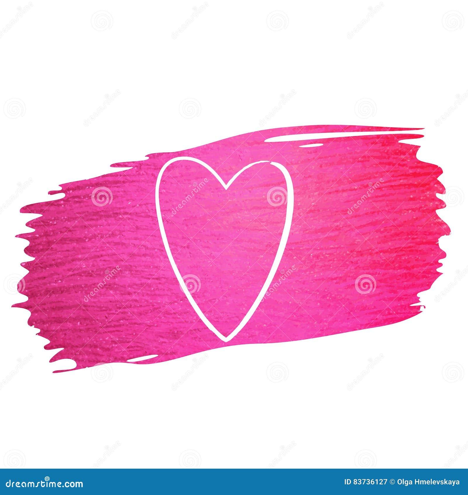 Hand - den gjorda slaglängden för vektorrosa färgmålarfärg blänker textur med hjärta
