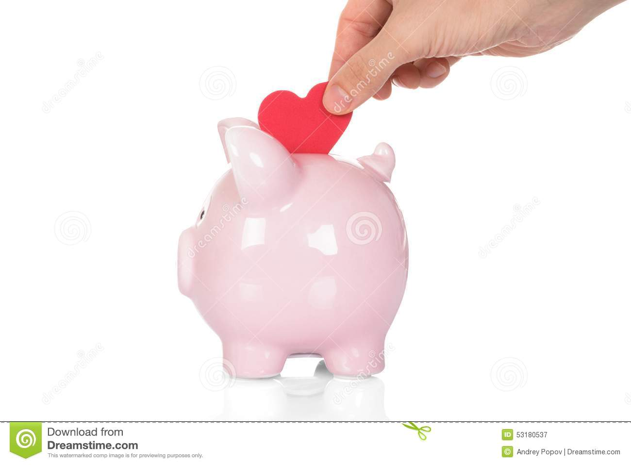 Hand Deposit Red Heart In Piggy Bank Stock Image Image