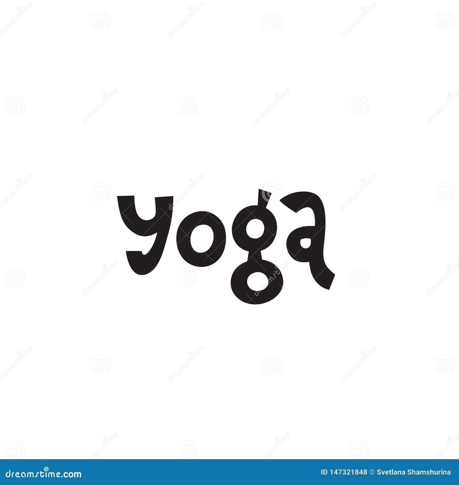 Hand, die Aufschrift Yoga über gesundes Leben und Eignung, für Motivationszitatplakate, inspirierend Schwarzweiss-Text beschrifte