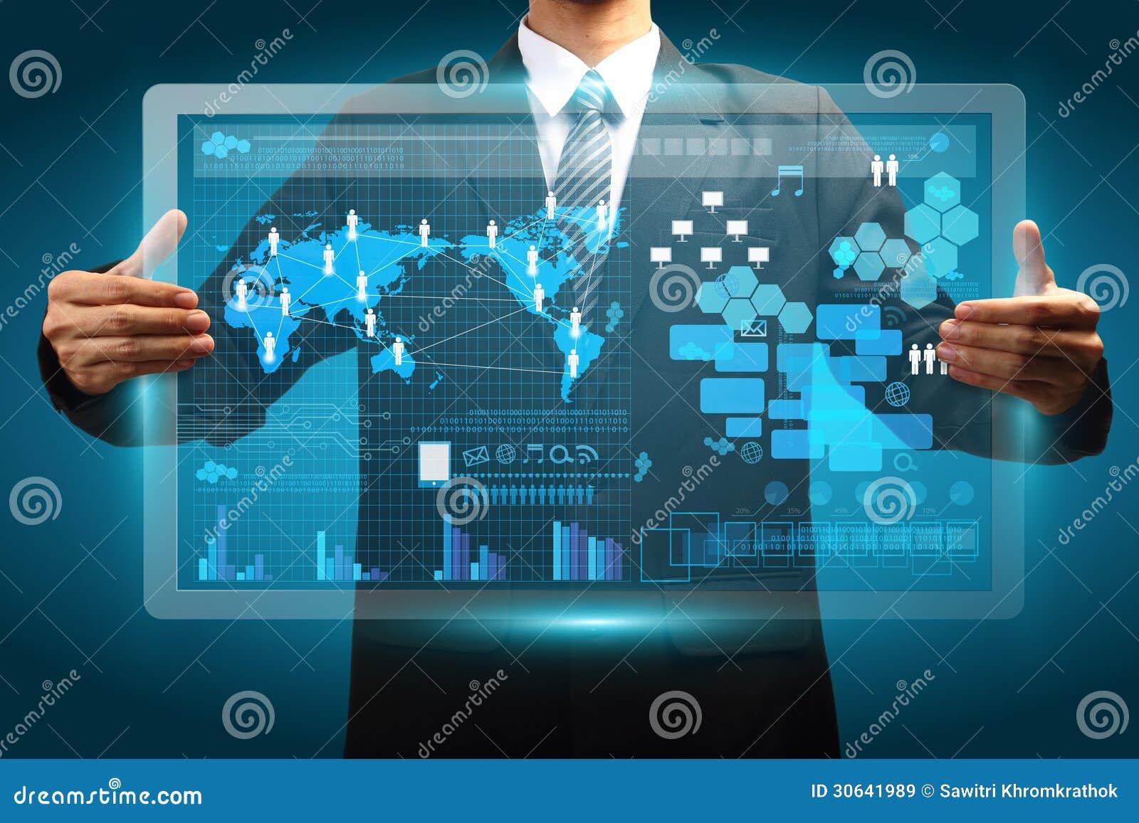 Hand die digitaal vurtual van de het bedrijfs schermtechnologie concept houden