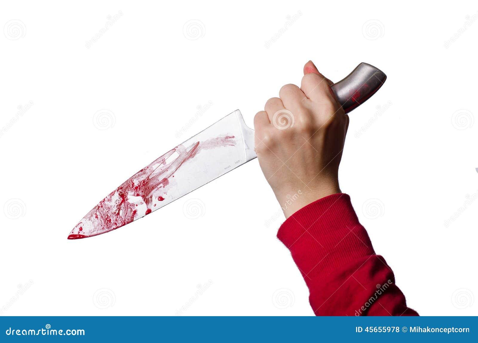 Hand die een bloedig mes houden
