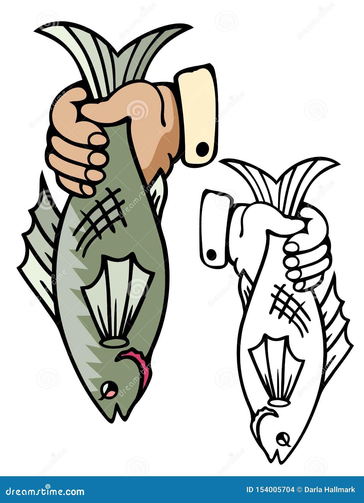 Hand die een gehele vis houden