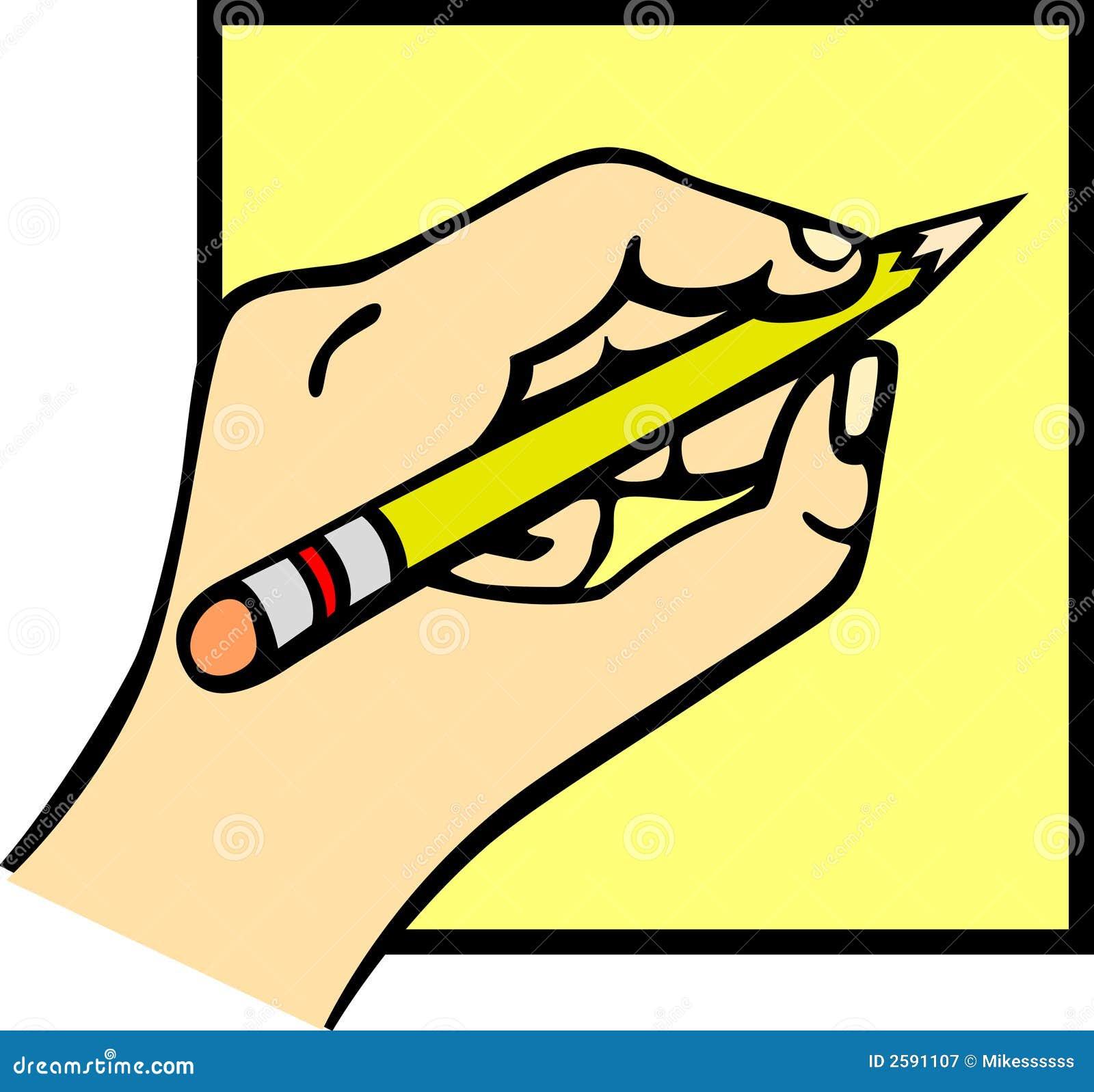 Hand die een potlood houdt