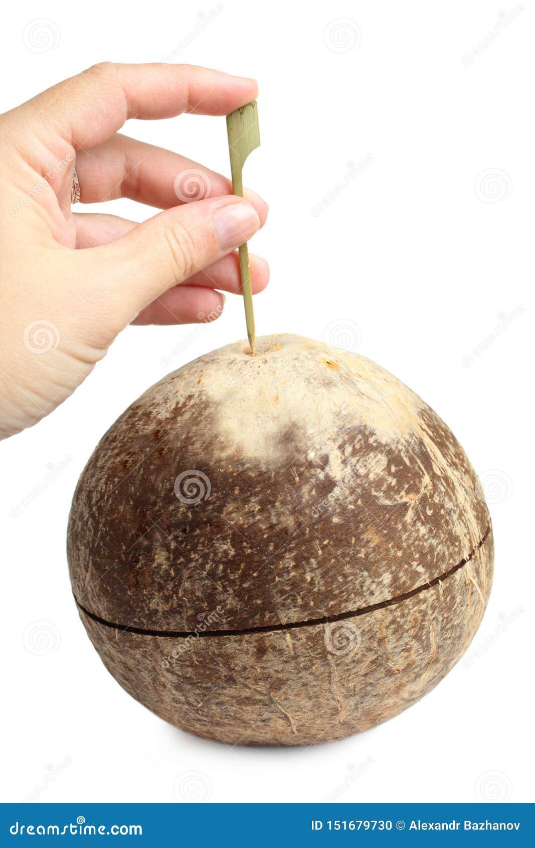 Hand die gat in kokosnoot maken