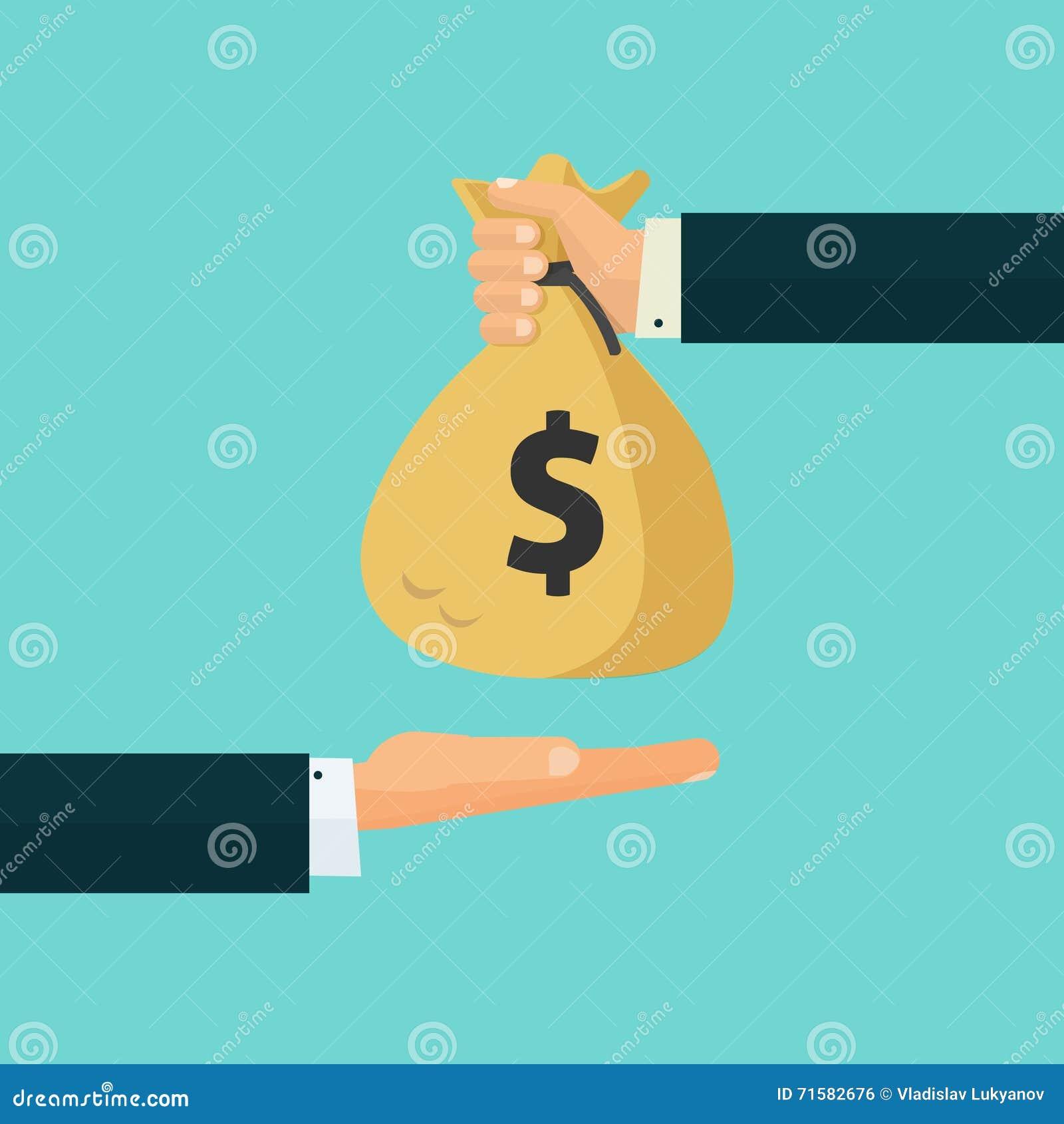 Hand die geldzak aan een andere hand, betaling, krediet, lening geven