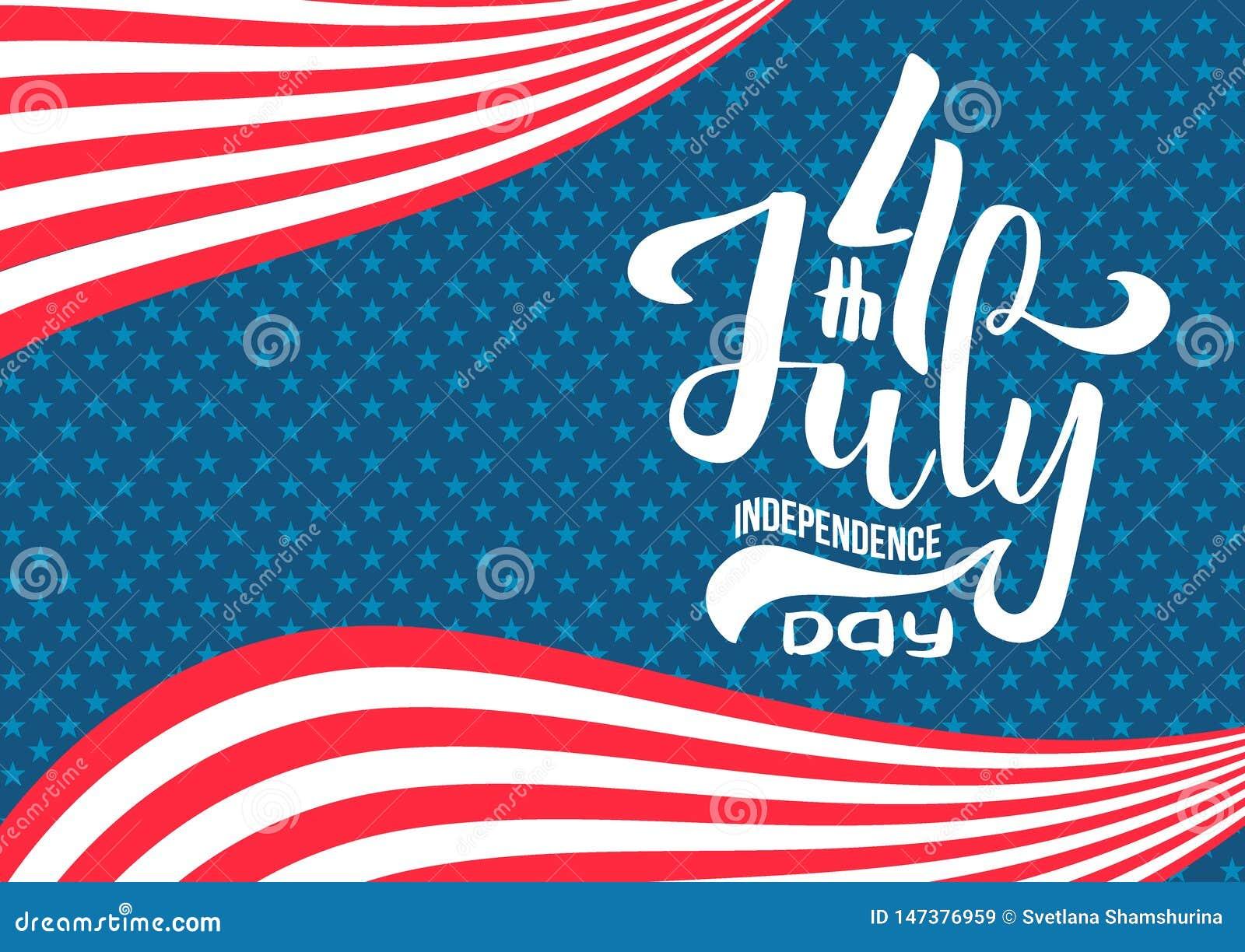 Hand, die am 4. Juli Unabh?ngigkeitstag USA beschriftet Handgezogene kalligraphische Art Beschriftungszusammensetzung von 4. von