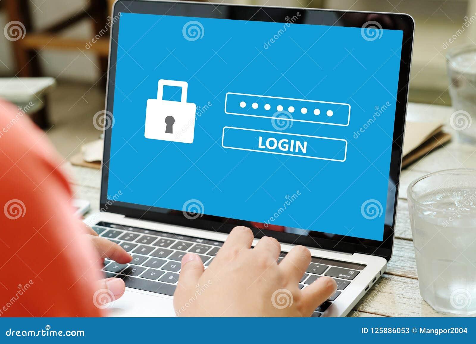 Hand, die Laptop-Computer mit Passwortanmeldung auf Schirm, Cyber bindet