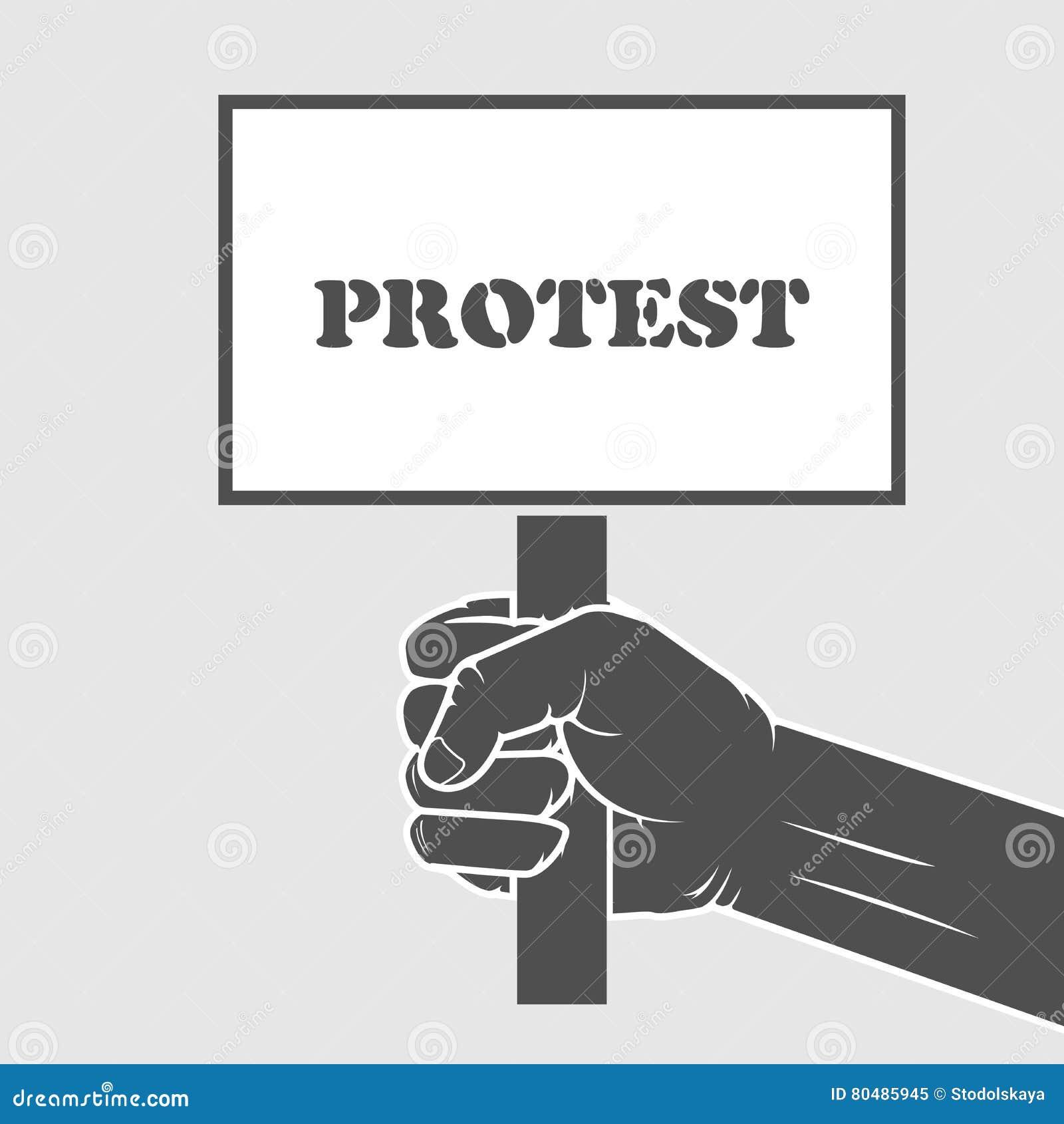 Hand, Die Protestplakat - Streikkonzept Hält Vektor Abbildung ...