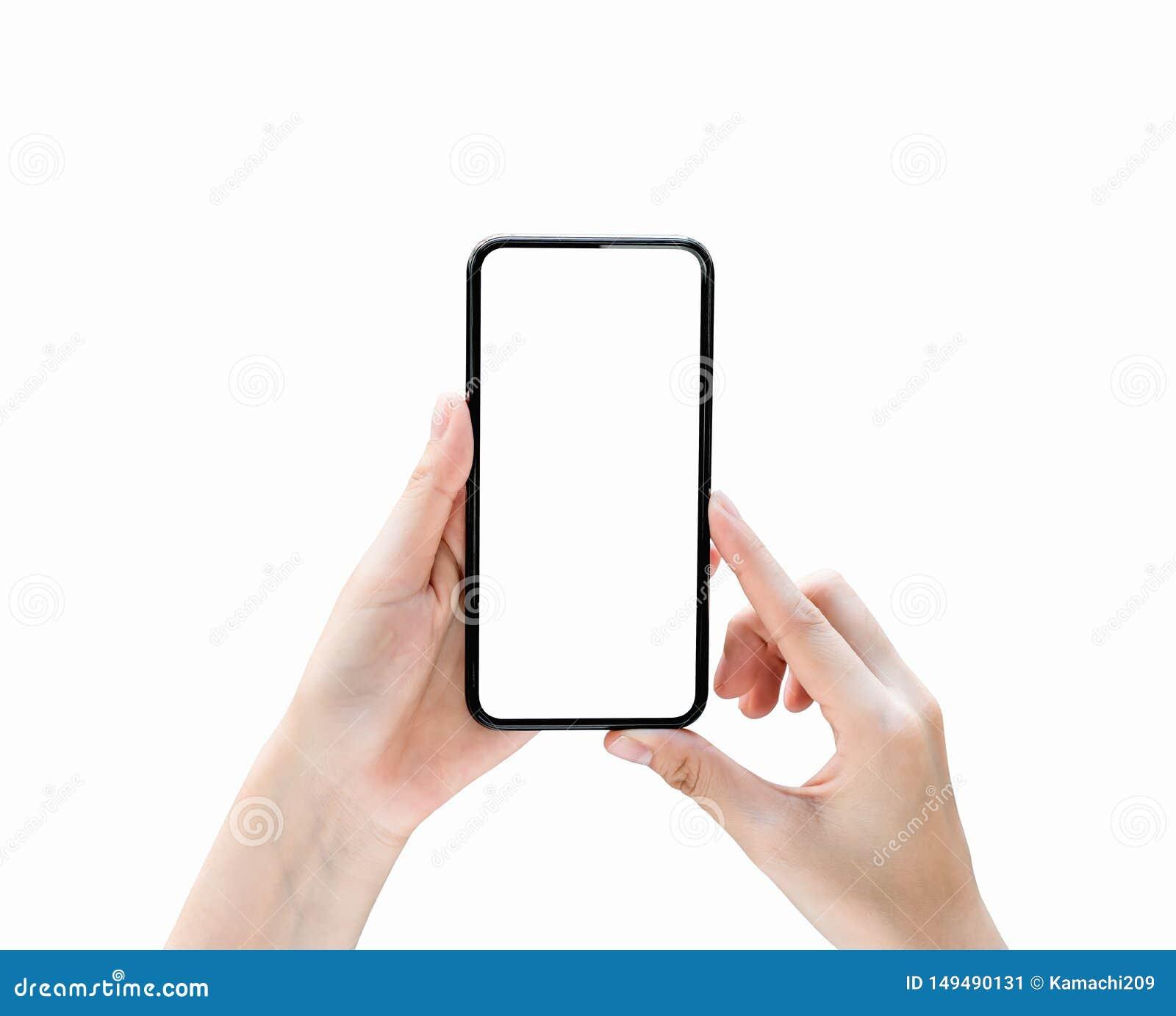 Hand, die Smartphoneleeren bildschirm auf lokalisiert h?lt Nehmen Sie Ihren Schirm, um an annoncieren zu setzen