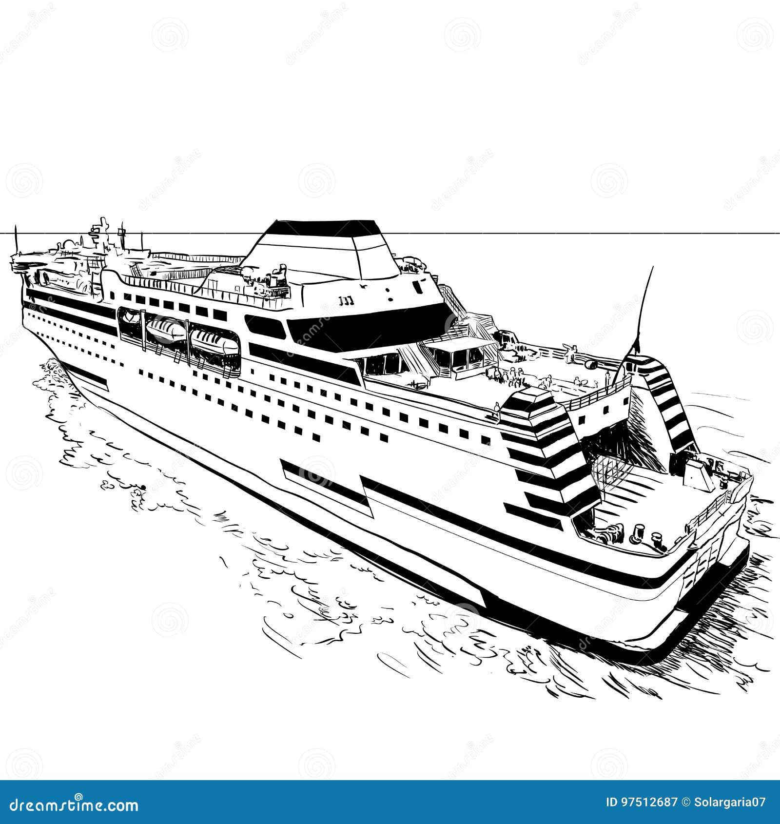 hand die veerbootvectorillustratie trekken vector