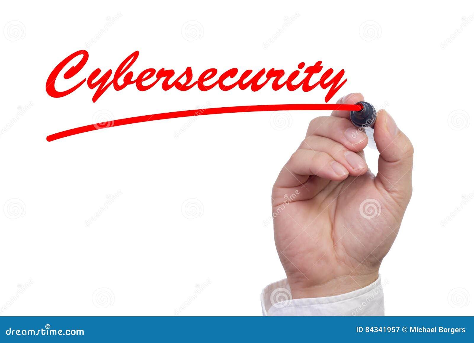 Hand die woordcybersecurity schrijven en het onderstrepen