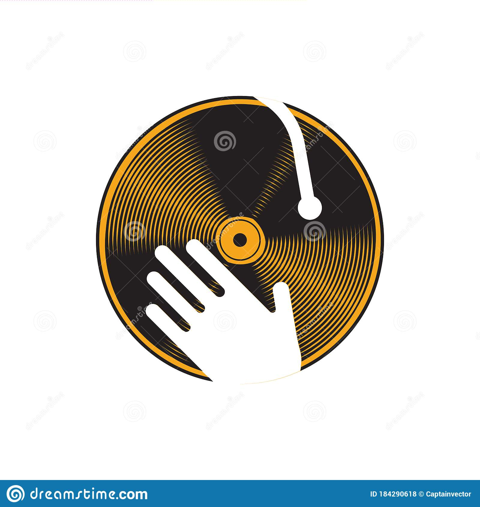 Hand On Dj Turntable. Vector Illustration Decorative