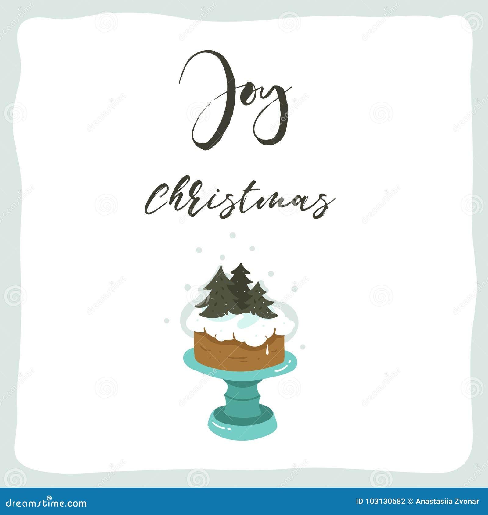 Hand dragen affisch för illustrationer för tecknad film för tid för glad jul för vektorabstrakt begrepp rolig med feriekakaställn
