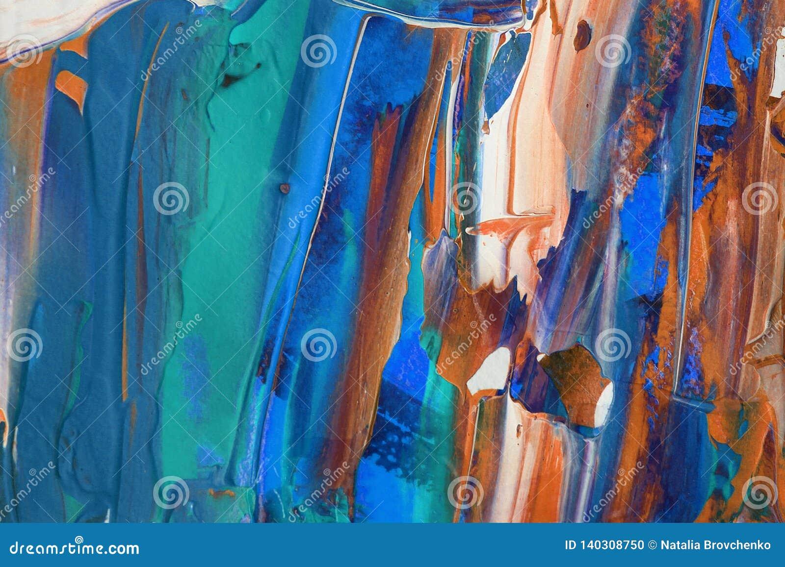 Hand dragen akrylmålning abstrakt konstbakgrund Akrylmålning på kanfas Färgtextur Fragment av konstverk penseldrag