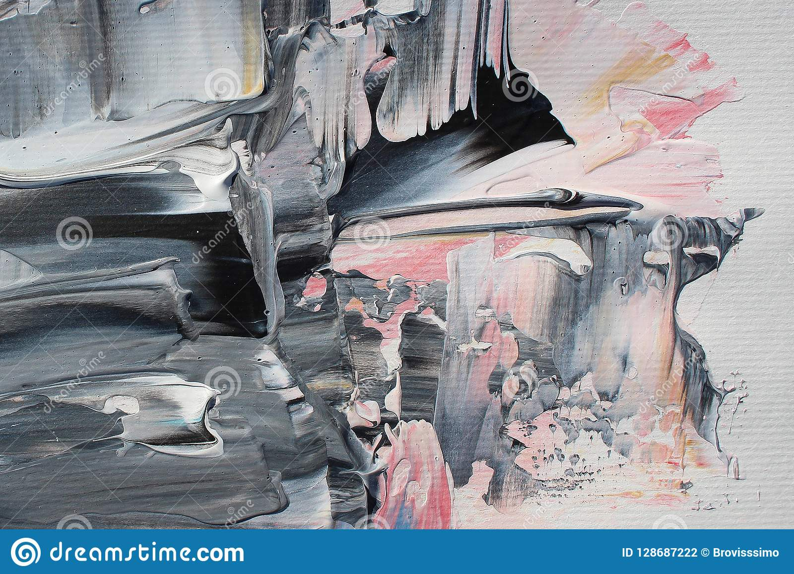 Hand dragen akrylmålning abstrakt konstbakgrund Akrylmålning på kanfas Färgtextur penseldrag
