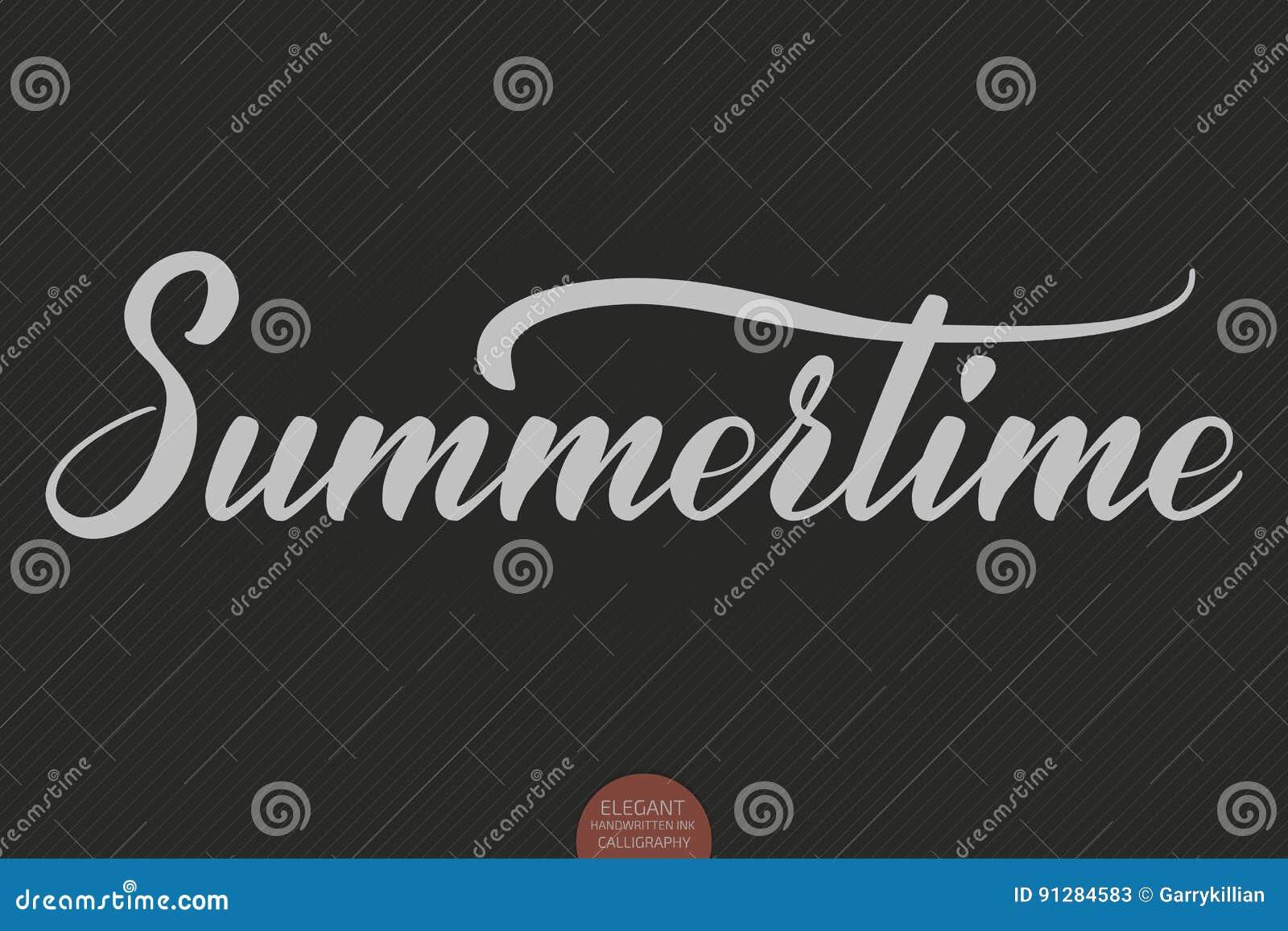 Hand dragen bokstäver - sommartid Elegant modern handskriven kalligrafi Vektorfärgpulverillustration Typografiaffisch på