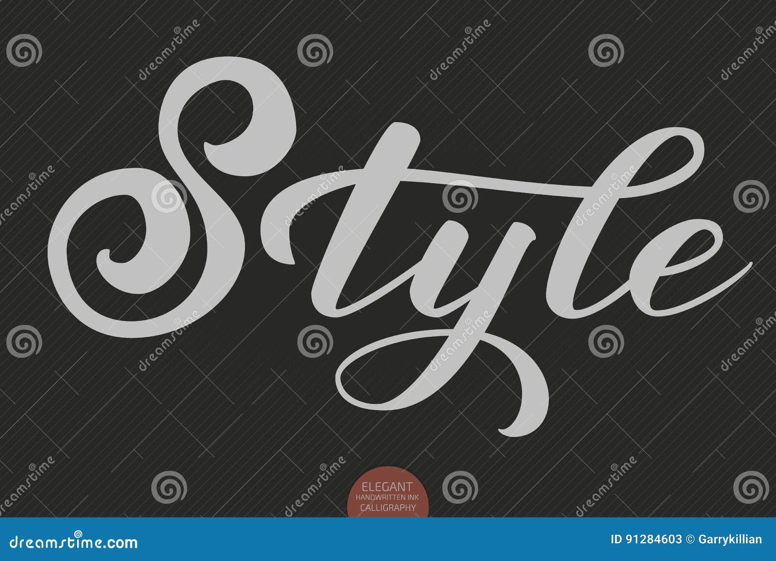 Hand dragen bokstäver - stil Elegant modern handskriven kalligrafi Vektorfärgpulverillustration Typografiaffisch på mörker
