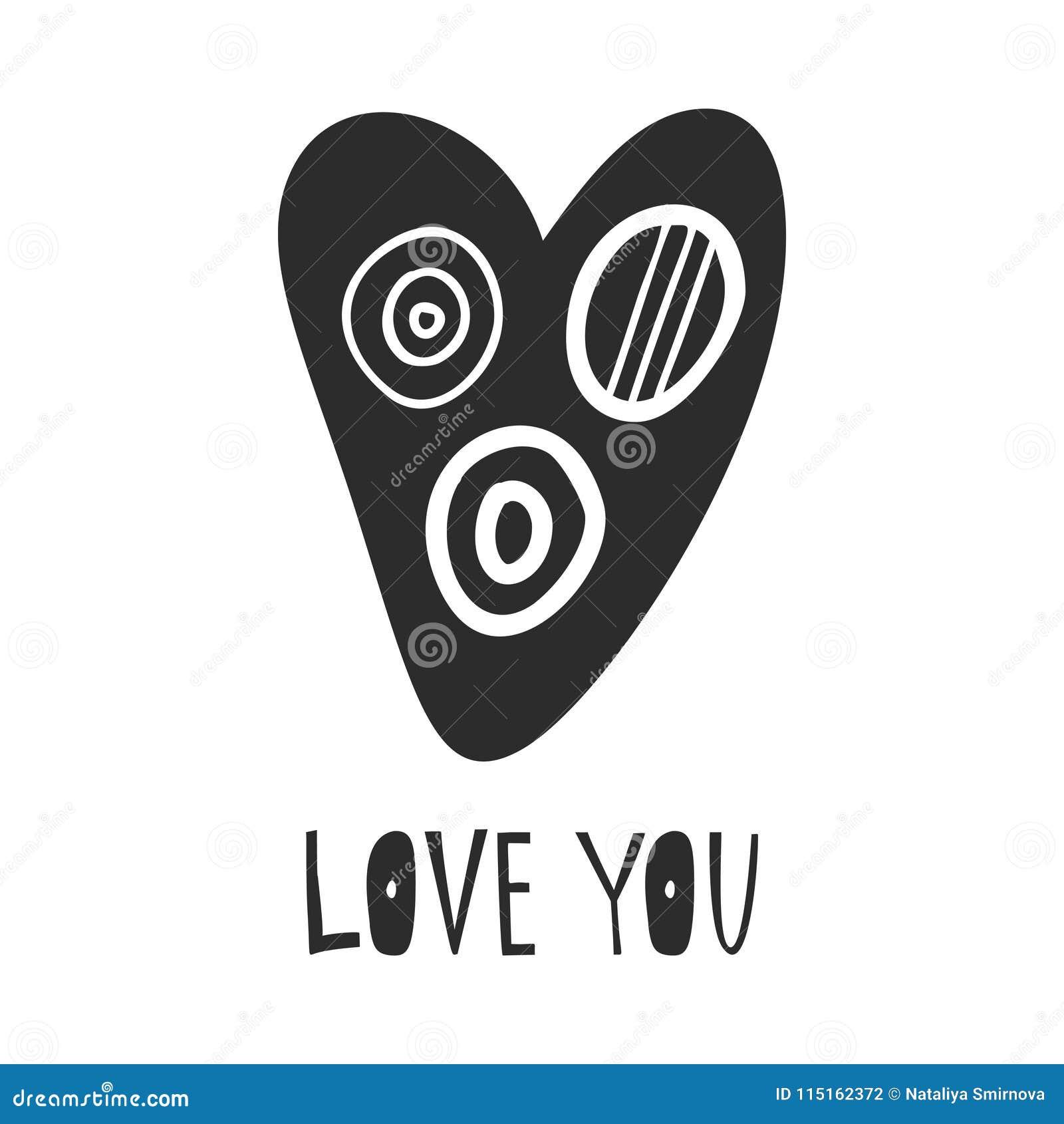 Hand dragen hjärta med bokstäverförälskelse dig