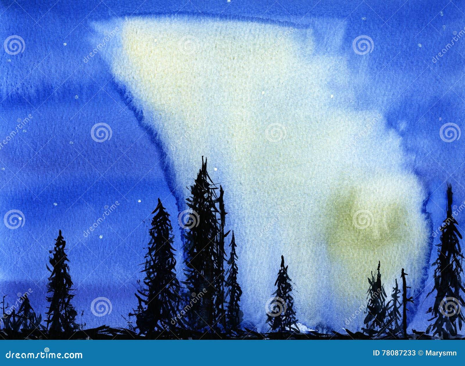 Hand dragen illustration av nattsikten med nordliga ljus