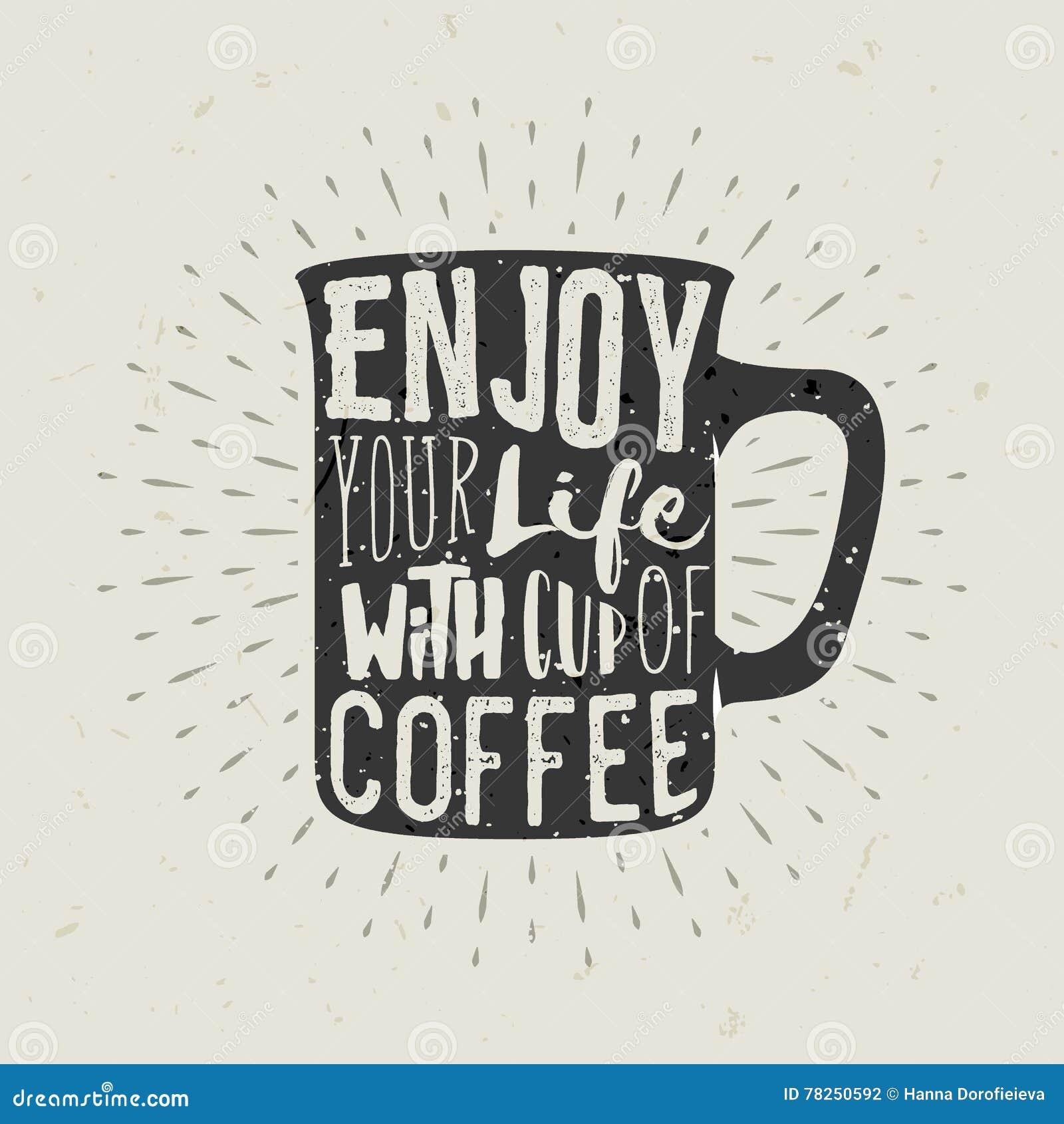Hand-dragen konturkopp kaffe med bokstäver